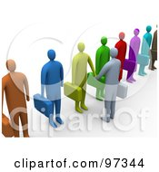 Royalty Free RF Clipart Illustration Of A 3d Business Man Facing A Line Of Job Applicants Or Employees And Shaking Their Hands