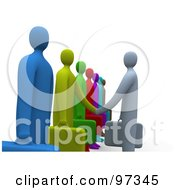 Royalty Free RF Clipart Illustration Of A Side View Of A 3d Business Man Facing A Line Of Job Applicants Or Employees And Shaking Their Hands by 3poD