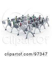 Royalty Free RF Clipart Illustration Of 3d Business People Doing Training In A Group by 3poD