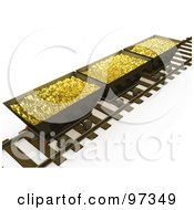 Royalty Free RF Clipart Illustration Of Three 3d Mining Bins Of Gold On A Track