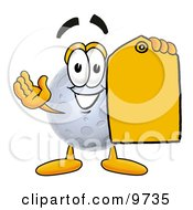 Moon Mascot Cartoon Character Holding A Yellow Sales Price Tag