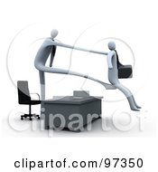 Royalty Free RF Clipart Illustration Of A 3d Boss Stretching Out His Arm And Legs Over A Desk To Fire And Kick Out An Employee by 3poD