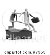 Royalty Free RF Clipart Illustration Of A 3d Manager Stretching Out His Arm And Legs Over A Desk To Fire And Kick Out An Employee