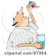 Royalty Free RF Clipart Illustration Of A Man Tilting His Head Back And Opening His Mouth To Take A Pill by Dennis Cox