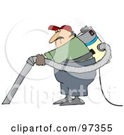 Royalty Free RF Clipart Illustration Of A Male Janitor Wearing And Using A Back Vacuum