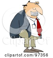 Royalty Free RF Clipart Illustration Of A Businessman With Duct Tape Over His Mouth
