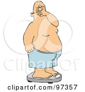 Royalty Free RF Clipart Illustration Of A Man Covering His Mouth In Shock After Weighing Himself On A Scale by Dennis Cox