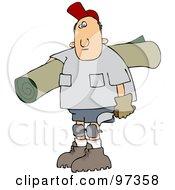 Royalty Free RF Clipart Illustration Of A Caucasian Carpet Layer Man Carrying A Roll Of Carpet And A Tool