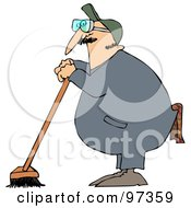 Royalty Free RF Clipart Illustration Of An Industrial Janitor Leaning On A Push Broom