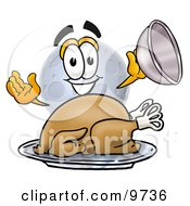 Moon Mascot Cartoon Character Serving A Thanksgiving Turkey On A Platter