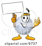 Clipart Picture Of A Moon Mascot Cartoon Character Holding A Blank Sign by Toons4Biz