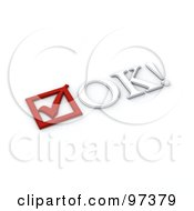 Royalty Free RF Clipart Illustration Of A 3d Red Check Box And Ok Text by MacX
