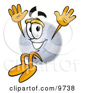 Clipart Picture Of A Moon Mascot Cartoon Character Jumping by Toons4Biz