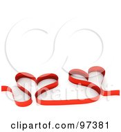 Royalty Free RF Clipart Illustration Of A Red Ribbon Forming Two Hearts by MacX