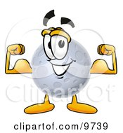 Clipart Picture Of A Moon Mascot Cartoon Character Flexing His Arm Muscles by Toons4Biz