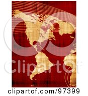 Royalty Free RF Clipart Illustration Of A Grungy Parchment Map Of The Americas Over Red With Mesh Waves