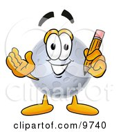 Clipart Picture Of A Moon Mascot Cartoon Character Holding A Pencil by Toons4Biz