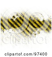 Royalty Free RF Clipart Illustration Of A Grungy Hazard Stripes Bar Fading Into White With Halftone by Arena Creative