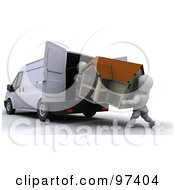 Royalty Free RF Clipart Illustration Of 3d White Characters Loading A House Into A Van