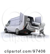 3d White Characters Loading An Oven Into A Van