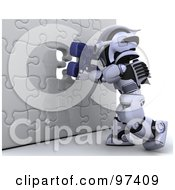 Royalty Free RF Clipart Illustration Of A 3d Silver Robot Inserting A Blue Piece Into A Puzzle Wall