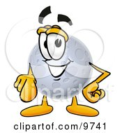 Clipart Picture Of A Moon Mascot Cartoon Character Pointing At The Viewer by Toons4Biz