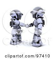 Poster, Art Print Of 3d Silver Robots Shaking Hands