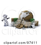 3d Silver Robot With Cardboard Boxes Recycle Bins And A Globe