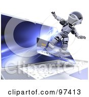 Royalty Free RF Clipart Illustration Of A 3d Silver Robot Surfing On A Credit Card Over A Laptop by KJ Pargeter