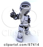 Royalty Free RF Clipart Illustration Of A 3d Silver Robot Holding Out One Finger