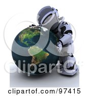 Royalty Free RF Clipart Illustration Of A 3d Silver Robot Hugging A Globe