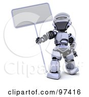 3d Silver Robot Holding A Narrow Sign On A Pole