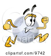 Clipart Picture Of A Moon Mascot Cartoon Character Running by Toons4Biz