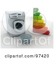 Royalty Free RF Clipart Illustration Of A 3d Laundry Basket In Front Of An Open Front Loader Washing Machine With An Energy Rating Chart by KJ Pargeter