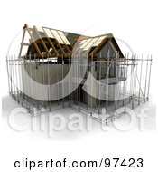 Royalty Free RF Clipart Illustration Of A 3d Home Under Construction With Scaffolding
