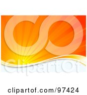 Royalty Free RF Clipart Illustration Of A Burst Of Orange Sunshine Over A White Wave