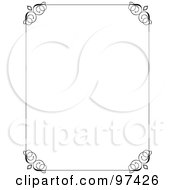 Royalty Free RF Clipart Illustration Of A Decorative Black Border Around White Space