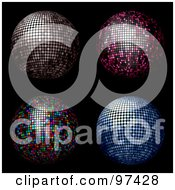 Royalty Free RF Clipart Illustration Of A Digital Collage Of Blue Pink Rainbow And Silver Disco Balls On Black by KJ Pargeter