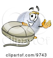 Clipart Picture Of A Moon Mascot Cartoon Character With A Computer Mouse by Toons4Biz