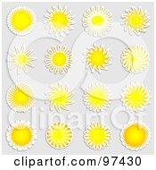 Digital Collage Of Sun Sticker Design Elements On Gray