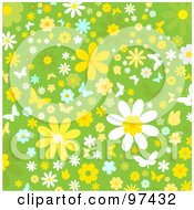 Green Background Of White Yellow And Blue Flowers And Butterflies