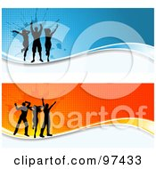Royalty Free RF Clipart Illustration Of Two Grungy Orange And Blue Dancer Website Headers