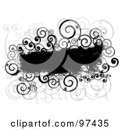 Royalty Free RF Clipart Illustration Of A Grungy Black Text Box With Spiral Vines On White by KJ Pargeter