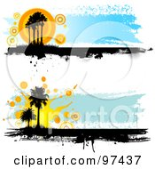 Royalty Free RF Clipart Illustration Of Two Grungy Palm Tree Website Headers by KJ Pargeter