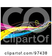 Royalty Free RF Clipart Illustration Of A Background Of Magical Vibrant Waves Of Color Over Black