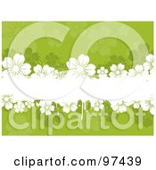 Royalty Free RF Clipart Illustration Of A White Grungy Text Box With Flowers Over A Green Floral Background by KJ Pargeter