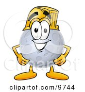 Clipart Picture Of A Moon Mascot Cartoon Character Wearing A Helmet