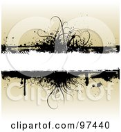 Royalty Free RF Clipart Illustration Of A White Text Box With Black Grassy Grunge Over Beige