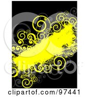 Royalty Free RF Clipart Illustration Of A Grungy Yellow Text Box With Spiral Vines On Black
