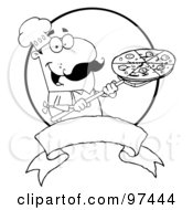 Royalty Free RF Clipart Illustration Of An Outlined Male Pizzeria Chef Holding A Pizza On A Scooper Above A Blank Banner And Circle by Hit Toon